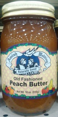 Amish Wedding Peach Butter Pint Jar 1232  #amish #peachbutter #oldfashioned