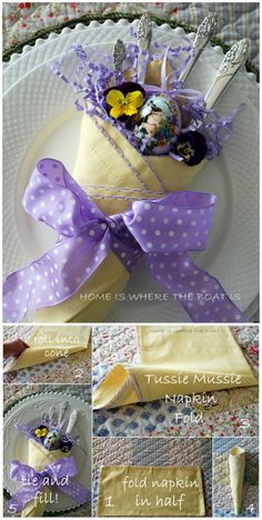 Tussie Mussie Napkin Fold | Homeiswheretheboatis.net #Easter #table