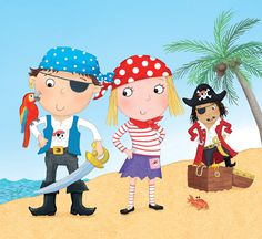 Pirates © Sharon Harmer  mooart www.childrensillustrators.com Ladybird Books, Sister Love, Illustrators, Children, Kids, Disney Characters, Fictional Characters, Minnie Mouse, Wonderland