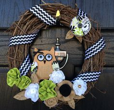 Owl Grapevine Wreath with Black and White Chevron by JeniFischer