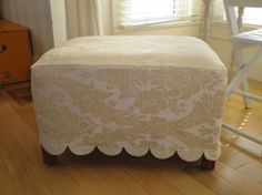 Slipcovers - ottoman with scalloped bottom hem Diy Ottoman, Ottoman Slipcover, Slipcovers, Upholstered Furniture, Home Furniture, Stool Covers, Home Sew, Home Decor Fabric, Diy Home Improvement
