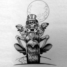 Эских тату байкерских - скелет на байке и луна
