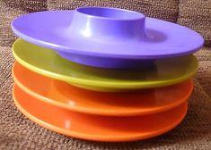 Rosti Denmark Set of eight  plastic egg cups Mepal dinnerware Vintage 1960s. Four different colors