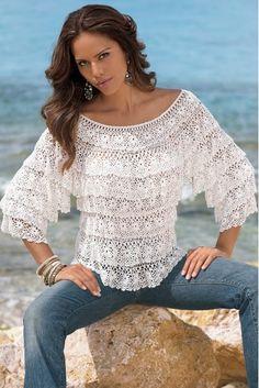 Crochet Blusas Handmade crochet cute summer women crochet blouse - MADE TO ORDER Débardeurs Au Crochet, Crochet Bolero, Pull Crochet, Gilet Crochet, Crochet Tunic, Crochet Woman, Love Crochet, Irish Crochet, Crochet Clothes