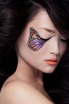 22 Schmetterling Fantasy Make Up - Halloween Karneval - Painting Boy Butterfly Makeup, Butterfly Eyes, Madame Butterfly, Butterfly Costume, Butterflies, Butterfly Halloween, Butterfly Painting, Butterfly Kisses, Purple Butterfly