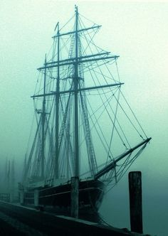 I love this on so many levels...Peter Pan, a tall ship, pirates, a ghostly ship on the water...