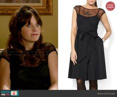 Jess's black embroidered illusion dress on New Girl.  Outfit Details: http://wornontv.net/47355/ #NewGirl