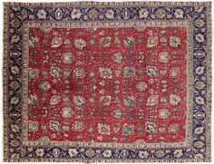 Authentic Persian Oriental Tabriz Hand Knotted Area Rug