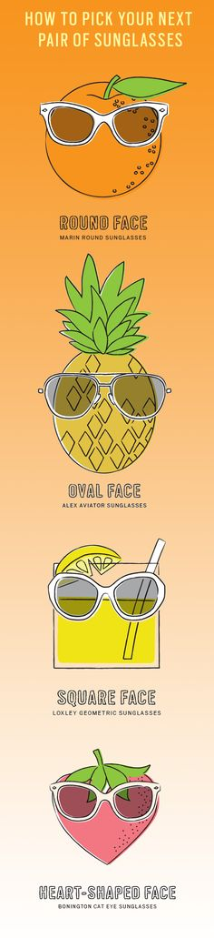 A summer wardrobe is never complete without a great pair of sunglasses. But how do you choose the coolest pair that's perfect for you? To save you from a lot of trial and error, read on and find the shape that's right for your face (and personality).