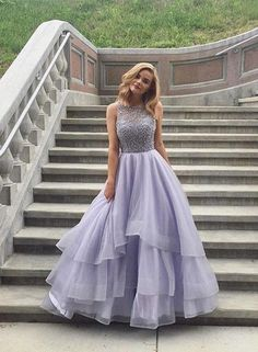 Lavender Tulle Round Neck Lace A-line Long Prom Dresses,Long Evening Formal Dress,Women Dress,Evening Gowns Lilac Prom Dresses, Unique Prom Dresses, Sweet 16 Dresses, Ball Dresses, Pretty Dresses, Homecoming Dresses, Wedding Party Dresses, Beautiful Dresses, Ball Gowns