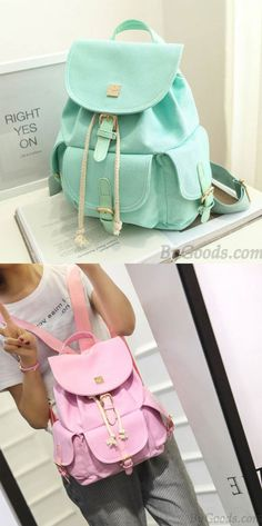 Sweet Candy Canvas College Rucksack Mint Green Pure Color Girls Backpack for big sale ! #green #college #sweet #bag #backpack #rucksack #travel