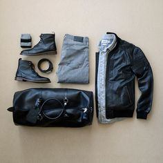 Leather Bomber Jacket, Leather Duffle Bag, Leather Boots, check, check, check! #mensfashion #duffelbag #leather #boots