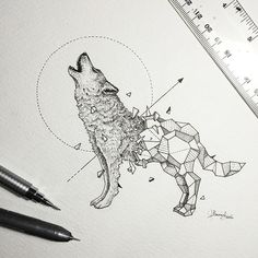 Kerby Rosanes is a superb talented illustrator based in Manila, capital of the Philippines. What he loves above all in illustration is the sensation of his pencils on a sheet of paper. He just finished a new series of illustrations he called Geometri … - Geometric Drawing, Geometric Shapes, Geometric Animal, Geometric Wolf Tattoo, Tattoo Abstract, Geometric Sleeve, Tribal Wolf, Mandala Tattoo, Geometric Designs