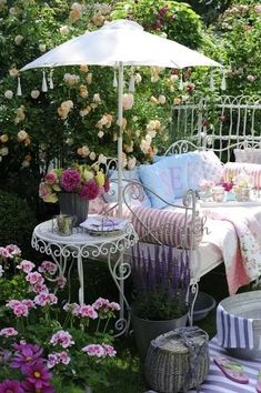 Beautiful bench, parasol & cushions in the garden  ~ lovingly repinned by www.skipperwoodhome.co.uk