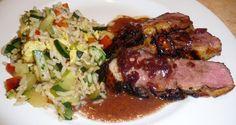 MAGRETS DE CANARD AUX ÉCHALOTES, MIEL ET VINAIGRE BALSAMIQUE Duck Recipes, Light Recipes, Carne, Steak, Pork, Chicken, Parfait, Cooking, Sauces