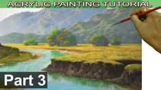 Acrylic Landscape Painting Tutorial on Bigger Canvas | Fields, Trees, Cl...