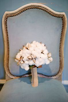 cotton boll bouquet  | Tea Olive Photography #wedding