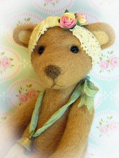 Needle Felted Artist Teddy Bear Thread Jointed by HazelwoodCrafts, £75.99
