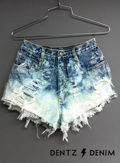 High Waisted Denim Shorts - Bleached. $42.00, via Etsy.