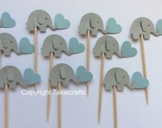 24 Whales Party Blue & Gray Party Picks Cupcake by takiecrafts