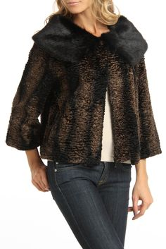 ABS by Allen Schwartz Faux Persian Fur Vintage Jacket