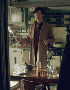 "conversationswithjohnlock: ""Look at this dork. He's so happy in his dressing gown with his fried eyeball and his mortar and pestle and his little glass bottles and gas flame and his safety goggles. Look at him. """