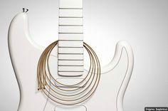Fondo blanco con guitarra eléctrica blanca