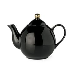 Miss Etoile Black Ceramic Teapot With Gold Top