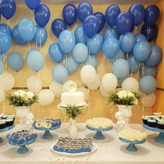 Create your perfect party with various decorations like the picture below!Choose from some of plain and themed birthday party decorations including banners, bunting, paper decorations, pom poms,baloon and more. Mom Birthday Gift, Boy Birthday Parties, Birthday Balloons, Baby Shower Parties, Birthday Party Decorations, Graduation Decorations, Birthday Cake, Sweet 16 Themes, Its A Boy Balloons