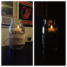 Mason jar table candles. Antique mason jars decorated with Berber and lace filled with seashells and topped-off with a battery operated candle