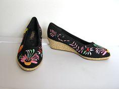 SOLD / Vintage 1980s Boho / Black Canvas & Floral Embroidered Espadrilles by VelouriaVintage, $30.00 #vintage