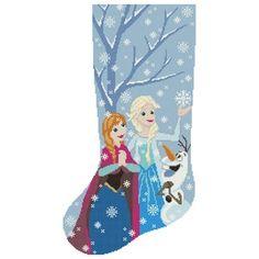 Cross Stitch Christmas Stockings, Christmas Cross, Cross Stitch Samplers, Cross Stitching, Disney Stockings, Cute Frozen, Disney Designs, Cute Bee, Modern Cross Stitch Patterns