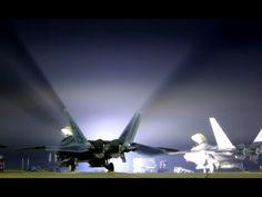 F-22 Raptor lit-up at night