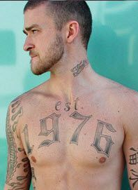 Great temporary tattoos from Tinsley Transfers for Justin Timberlake in the movie Alpha Dog