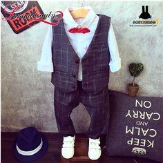2016 New Spring Autumn Kids Boy Sets Fashion Little Gentleman Plaid Jacket Vest+ Pants 2 pcs Formal Suits Children Boy Clothes