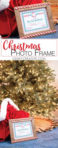 This is a great night before Christmas tradition! Let the kids know they made Santa's list with this DIY Christmas Photo Frame and a Nice List Certificate. Christmas Photos, All Things Christmas, Christmas Fun, Vintage Christmas, Handmade Christmas, Christmas Ornaments, Diy Christmas Decorations Easy, Holiday Crafts, Holiday Decor