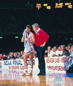 Coach Bob Knight led the Indiana Hoosiers to 5 Final Fours and won the National Title three times and He retired as the all time winningest coach in NCAA history. With Steve Alford in this picture Indiana Basketball, Basketball Teams, College Basketball, Steve Alford, Nevada, Bob Knight, Las Vegas, Iu Hoosiers, Girls Basketball Shoes
