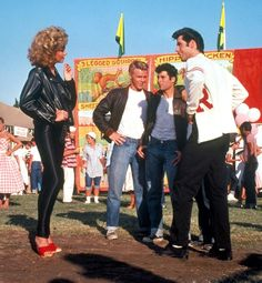 Grease, 1978 Sandy's transformation from squeaky-clean schoolgirl to rebellious sex kitten wouldn't be the same without her red stiletto mules. (Fun film fact: The shoes were Olivia Newton-John's own heels.)