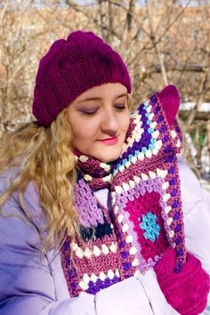 Knitting hat and mittens,  granny square crocheted scarf by Olga Anokhina