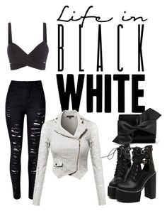 """life in black and white"" by effing-justice on Polyvore featuring Victoria Beckham, WithChic, women's clothing, women, female, woman, misses and juniors"