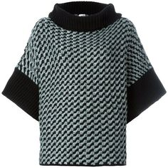 Armani Collezioni Houndstooth Pattern Oversized Pullover (€345) ❤ liked on Polyvore featuring tops, sweaters, black, houndstooth top, houndstooth sweaters, print sweater, print pullover and patterned tops