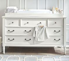 Plenty of storage and changing space.  Blythe Extra-Wide Dresser & Changing Table Topper #pbkids