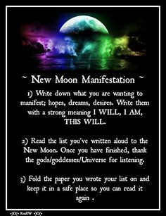 ~ New Moon Manifestation ~ Set your intentions down on yellow paper (yellow is the color of the Solar Plexus Chakra, the will power center to will your intentions) with red ink (red is the color of the Basic/Root Chakra to root in your intentions).