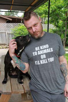 Todos los tamaños de los derechos de rescate Heather gris carbón camiseta Animal hombres unisex de Sé amable con los animales.  Lengua y mejillas vegan-Beneficios de rescate del gato del perro
