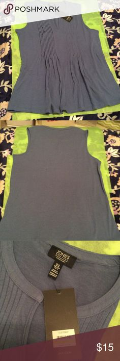 Jones New York Signature Sleeveless Top BWT Jones New York Signature Sleeveless top, color Chambray.  Round neck to a V, ribbed down to gathered in front.  Plain in back.  Very soft and comfortable feel.  Cotton and viscose.  Machine washable inside out. Jones New York Signature Tops Tank Tops