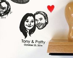 Decorate your wedding cards with your own couple portrait. DRAWING MADE BY HAND* STAMP FILLED WITH INK** MOUNTED ON WOOD BLOCK WOODEN BOX + LITTLE RED HEART STAMP FREE FAST PRODUCTION TIME NAMES & DATE can be added without any additional cost * No photoshop effect, my eyes and my hands are working! Youll get a unique, precise and delicate piece of art just for you. With this technique your stamp will be exactly like the sketch. ** The ink is included in the stamp (black, red or blue) ...