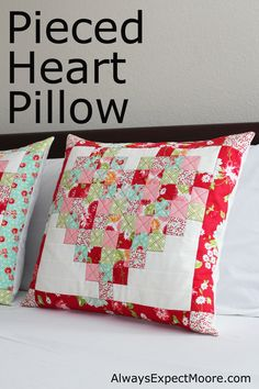 Transform small blocks into a pieced heart pillow tutorial. Scrappy Girls Club | Inspiring you to Bust Those Scraps!