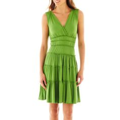 Sangria Sleeveless V Neck Tiered Dress - JCPenney