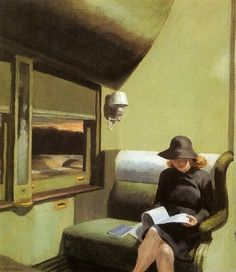 Edward Hopper, Compartment C, Car 193, 1938 This is an earlier example of Hopper showing how the reality presented in the magazine replaces the reality shown through the window. Also notice how the passenger sits away from the window.