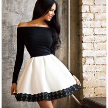 2015 nova moda verão quente de verão vestidos vestido preto uma linha completa manga barra pescoço mini vestidos(China (Mainland))